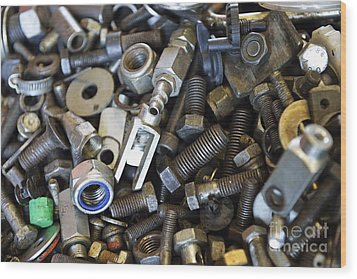 Used Nuts And Bolts Wood Print by Sami Sarkis