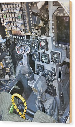 Usmc Av-8b Harrier Cockpit Wood Print by Olga Hamilton