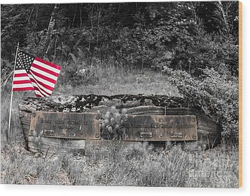 Wood Print featuring the photograph Usmc Veteran Headstone by Sherman Perry