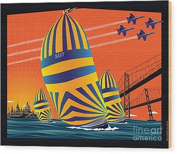 Usna Sunset Sail Wood Print by Joe Barsin
