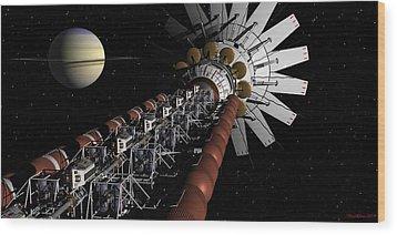 Uss Achilles Passing Saturn Wood Print