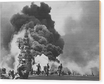 Uss Bunker Hill Kamikaze Attack  Wood Print by War Is Hell Store