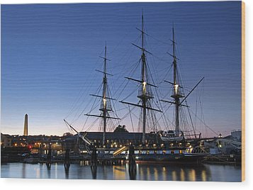 Uss Constitution And Bunker Hill Monument Wood Print by Juergen Roth