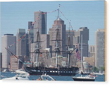 Uss Constitution Wood Print by Catherine Gagne
