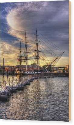 Uss Constitution Sunset - Boston Wood Print