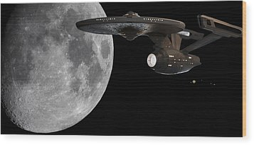 Wood Print featuring the photograph Uss Enterprise With The Moon And Jupiter by Jason Politte