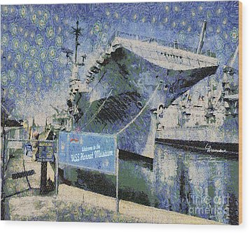 Wood Print featuring the painting Alameda Uss Hornet Aircraft Carrier by Linda Weinstock