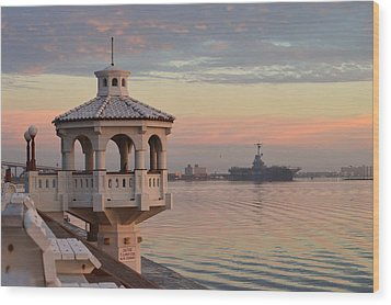 Uss Lexington At Sunrise Wood Print by Leticia Latocki