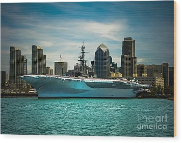 Uss Midway Museum Cv 41 Aircraft Carrier Wood Print by Claudia Ellis