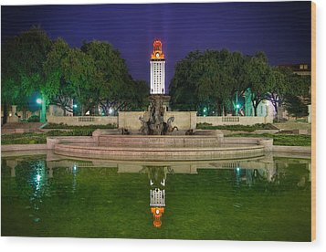 Ut Tower Regular Season Win Reflection Wood Print by Preston Broadfoot