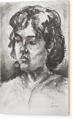 Uta With Short Hair Wood Print by Barbara Pommerenke