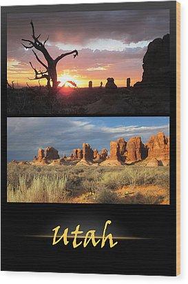 Utah Poster Wood Print