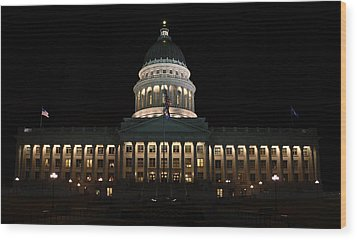 Wood Print featuring the photograph Utah State Capitol Front by David Andersen