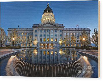 Utah State Capitol In Reflecting Fountain At Dusk Wood Print by Gary Whitton