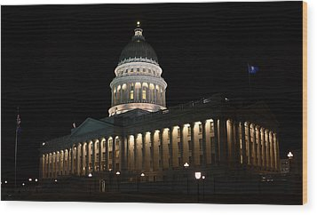 Wood Print featuring the photograph Utah State Capitol East by David Andersen