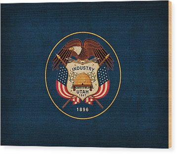 Utah State Flag Art On Worn Canvas Wood Print by Design Turnpike