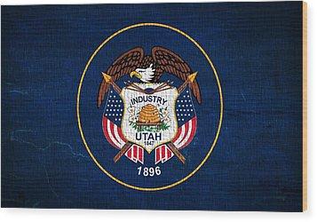 Utah State Flag On Canvas Wood Print by Dan Sproul