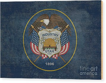 Utah State Flag Vintage Version Wood Print