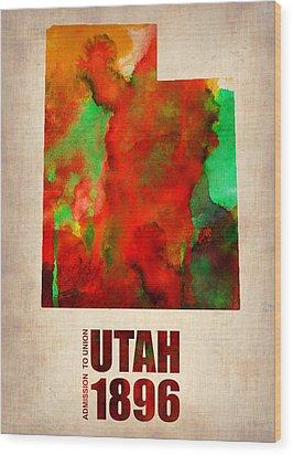 Utah Watercolor Map Wood Print by Naxart Studio