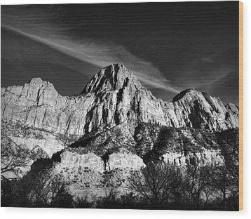 Utah - Zion National Park 001 Bw Wood Print
