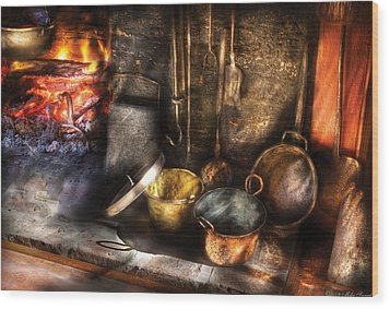 Utensils - Colonial Kitchen Wood Print by Mike Savad