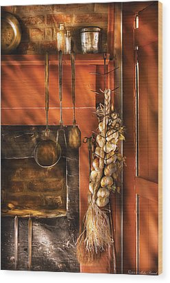 Utensils - Garlic And Spoons Wood Print by Mike Savad