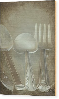 Utensils Wood Print by Sophie Vigneault