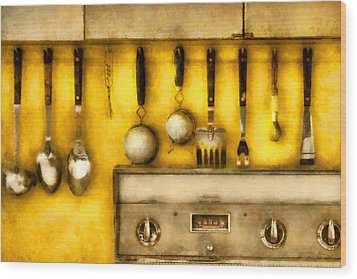 Utensils - The Kitchen  Wood Print by Mike Savad