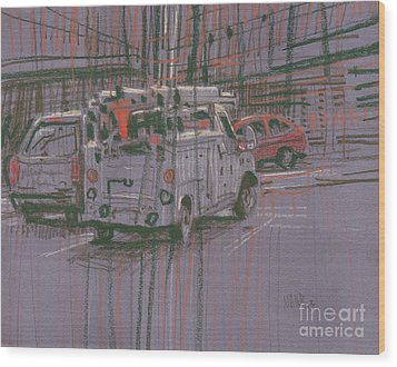 Wood Print featuring the painting Utility Truck by Donald Maier