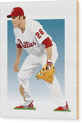 Utley In The Ready Wood Print