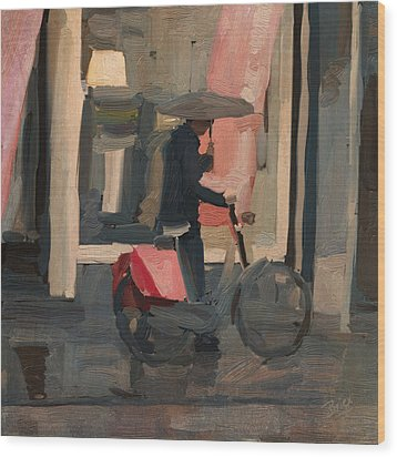 Wood Print featuring the painting Utrecht - Cycler In The Rain by Nop Briex