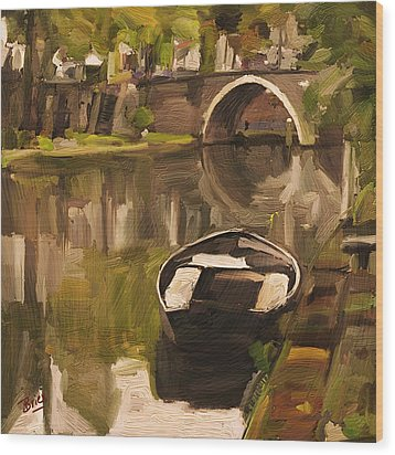 Wood Print featuring the painting Utrecht - Oude Gracht By Briex by Nop Briex