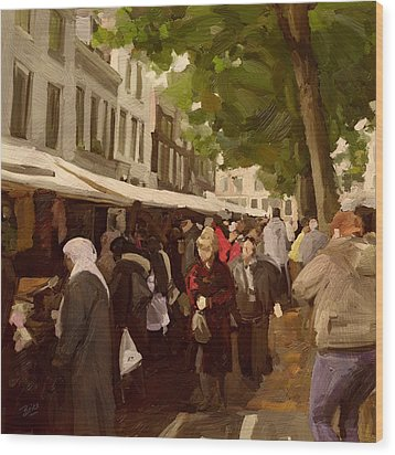Wood Print featuring the painting Utrecht - The Saturday's Fabrics Market by Nop Briex