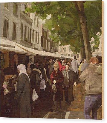 Utrecht - The Saturday's Fabrics Market Wood Print by Nop Briex
