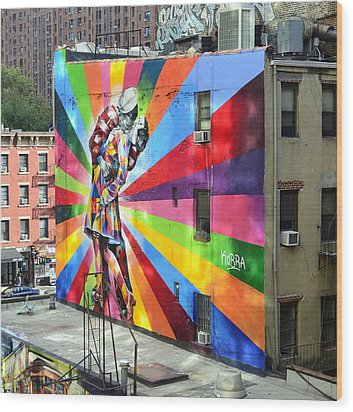 V - J Day Mural By Eduardo Kobra Wood Print