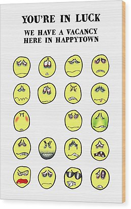 Vacancy In Happytown Wood Print by Mark Armstrong