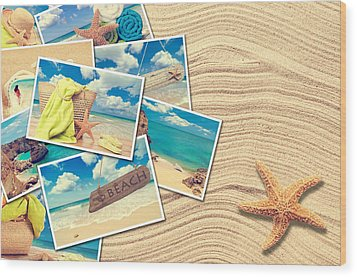 Vacation Postcards Wood Print by Amanda Elwell