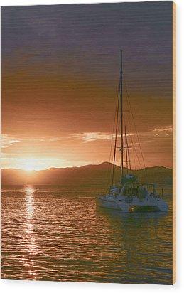 Vacation Sunset Wood Print by    Michael Glenn
