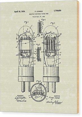 Vacuum Tube 1929 Patent Art Wood Print