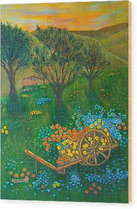 Val D'orcia Wood Print by Pamela Allegretto
