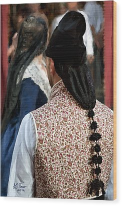 Wood Print featuring the photograph Valencian Couple In Traditional Dresses. by Juan Carlos Ferro Duque