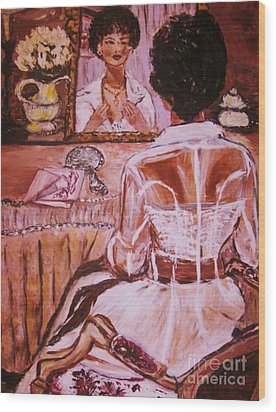 Wood Print featuring the painting Valentina by Helena Bebirian