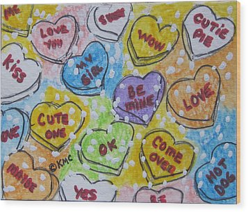 Valentine Candy Hearts Wood Print by Kathy Marrs Chandler