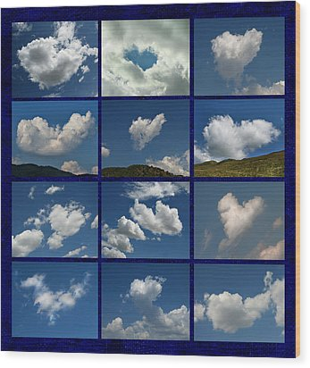 Valentine - Clouds For Sale Collage Wood Print by Daliana Pacuraru