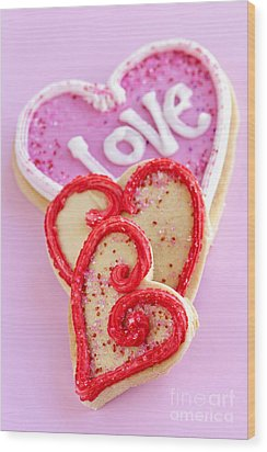 Valentine Hearts Wood Print by Elena Elisseeva