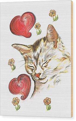 Valentine Cat Wood Print