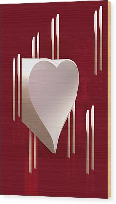 Valentine Paper Heart Wood Print by Gary Eason