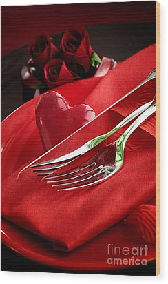 Valentine's Day Dinner Wood Print by Mythja  Photography