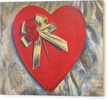 Valentine's Heart Wood Print by Chrissey Dittus