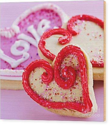 Valentines Hearts Wood Print by Elena Elisseeva